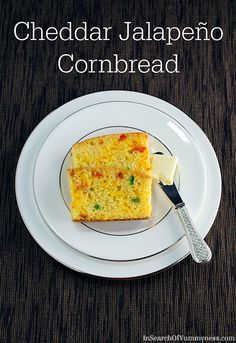 This cheddar jalapeno cornbread gets its festive colours from finely chopped jalapeno and roasted bell pepper.