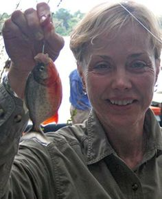Piranha are small but have VERY sharp teeth.  Caught this one in the Amazon River in Peru.