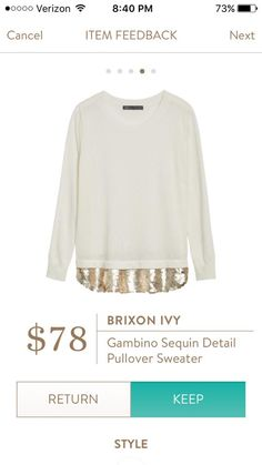 I WANT this sweater!!! M or L Brixon Ivy Sequin Detail Pullover Sweater
