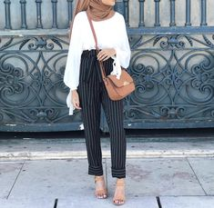 Dressy pants with hijab – Just Trendy Girls Modern Hijab Fashion, Indian Fashion Trends, Street Hijab Fashion, Hijab Fashion Inspiration, Muslim Fashion, Modest Fashion, Look Fashion, Fashion Outfits, Modest Outfits Muslim