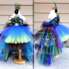 Gorgeous feathered Peacock Tutu Dress Halloween Costume Pageant Dress Flower Girl Dress made by www.BlissyCouture.com