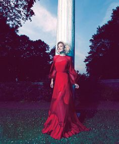 Kate Hudson red Valentino dress Harper s Bazaar