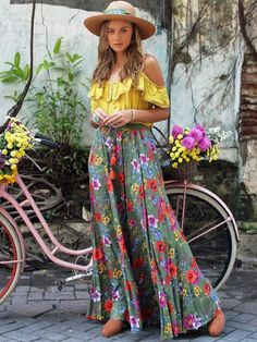 Harmonia Cami Top Plain Dandelion Bohemian Diesel Marketplace - Maxi Skirts - Ideas of Maxi Skirts Maxi Skirt Fall, Maxi Skirts, Boho Skirts, Bohemian Skirt, Boho Chic, Bohemian Style, Hippie Style, Bohemian Summer, Mode Hippie