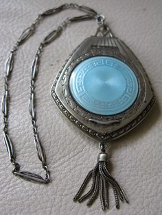 Antique Victorian STERLING SILVER Blue Guilloche Greek Key Mesh Tassel Compact