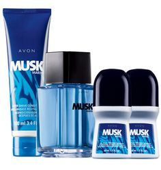 Avon: Musk Marine 4-Piece Fragrance Collection sales price of $10. A wave of cool mint and fresh mandarin splashed with invigorating ginger and masculine musk. Trio includes:   Cologne Spray  3.4 fl. oz. A $16.50 value.   After Shave Conditioner  3.4 fl. oz. A $5 value.   2 Roll-On Anti-Perspirant Deodorants  Each, 1.7 fl. oz. Each, a $0.99 value.
