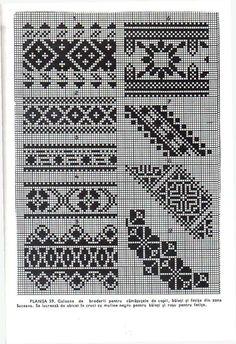 Embroidery Patterns, Stitch Patterns, Monochrom, Border Design, Hobbies And Crafts, Knit Crochet, Cross Stitch, Tapestry, Knitting