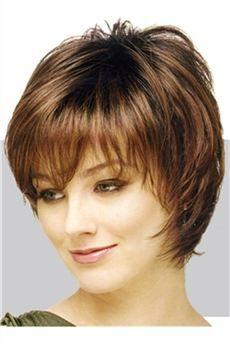 Peluca de cabello humano corto liso sin gorra