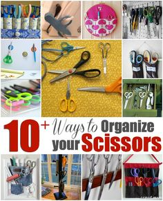 Scissor Organization is easy with these 10+ ideas.  The Sewing Loft