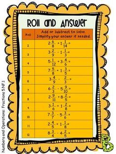 Roll and Answer Math Centers for 5th Grade Common Core: All Fraction Standards! $