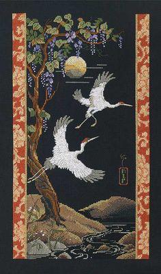 Moonlight Cranes, designed by Nancy Rossi for Kooler Design Studio, via Janlynn Platinum Collection.