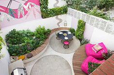 fall in love Small town garden. View looking down onto pink and white garden with decking, pink chairs, mosaics Small City Garden, Small Garden Design, Colorful Garden, Back Gardens, Small Gardens, Outdoor Gardens, Work In Australia, Pink Plant, Garden Projects