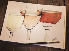 """""""I just rescued some wine, it was trapped in a bottle.""""  #watercolor #paint #wine"""