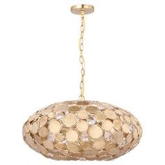 """Showcasing a wrought iron frame and antique gold finish, this eye-catching pendant casts a warm glow in your foyer or den.  Product: ChandelierConstruction Material: Wrought ironColor: Antique goldAccommodates: (6) 60 Watt medium bulbs - not includedDimensions: 14.25"""" H x 24"""" Diameter"""