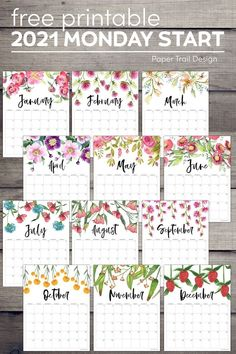 Elegant and gorgeous calendar to print for free for your home or office. 2021 Monday start floral calendar. #papertraildesign #freeprintable #printable #2021printables #organize #calendars 2021 Calendar, School Calendar, Print Calendar, Calendar Pages, Calendar Wall, Wall Calendars, Blank Calendar, Calendar Design, Free Printable Calendar