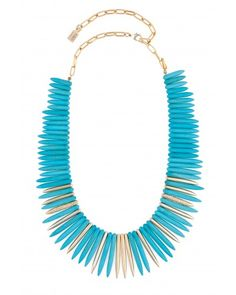 Kara Ross: Full Stick Necklace with Mixed Cast Sticks, Gold with Turquoise