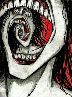 Freaky Face Spiral by Slaughterose on DeviantArt Dark Art Drawings, Art Drawings Sketches, Creepy Art, Weird Art, Arte Horror, Horror Art, Arte Obscura, Funky Art, Psychedelic Art
