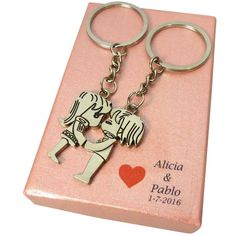 Color Rosa, Personalized Items, Chain, Keys, Accessories, Cakes, Carton Box, Key Fobs, Hearts