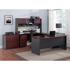 Altra Furniture Pursuit Executive Desk in Cherry and Gray-9319196 - The Home Depot