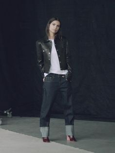 Not from His Closet - But who would guess? Dark denim, here on Emily Ratajkowski, looks best with a little slouch.