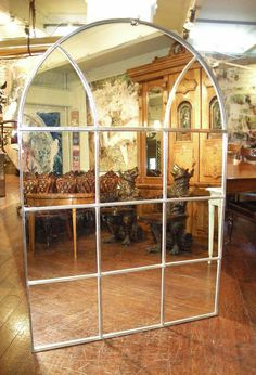 Hill Farm Antiques: A 19th century cast Steel Mirrored Window Frame by Hill Farm Antiques,