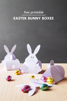 Free printable Easter bunny treat boxes. Love this simple DIY craft for kids to get ready for Easter!