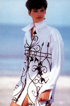 Peter Lindbergh for for American Vogue, January 1989. Shirt by WilliWear by Willi Smith.