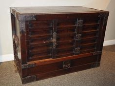 Japanese Antique Choba Merchant Tansu Chest