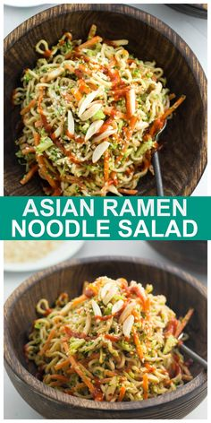 This Asian Ramen Noodle Salad is vegan, oil-free and ready in about 15 minutes! Oil-free! #vegan #ramen #noodle #salad #Asian Delicious Vegan Recipes, Raw Food Recipes, Asian Recipes, Cooking Recipes, Healthy Recipes, Asian Ramen Noodle Salad, Ramen Noodles, Bright Line Eating Recipes, Starch Solution