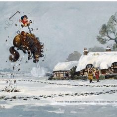 """'Christmas pony' by English artist Norman Thelwell (1923-2004).""""That's one Christmas Present She Won't Break In A Hurrry""""."""