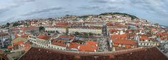 Panoramic view to the old downtown city of Lisbon