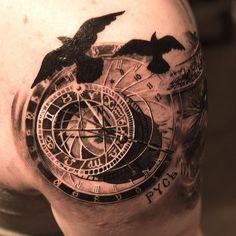 "Made by me in New York at @Burakkumanba .No:6 ""astronomical clock, huginn & muninn"" @mbherzog #clock #realistictattoo #tattoo #ravens - @Niki Norberg- #webstagram"