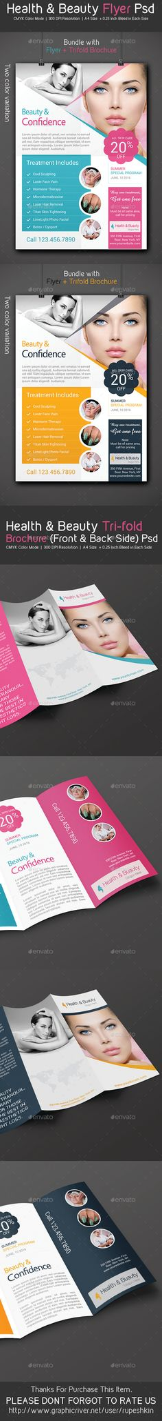 Health & Beauty Flyer & Trifold Brochure Pack