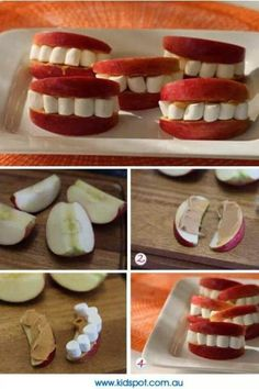 Love this healthy Halloween snack! Apples, peanut butter and marshmallows create cute sets of teeth! Just cut your apples into slices, spread on peanut butter and put marshmallows between the two slices! Buffet Halloween, Halloween Food For Party, Halloween Birthday, Holidays Halloween, Halloween Kids, Happy Halloween, Healthy Halloween Treats, Halloween Clothes, Haloween Snacks
