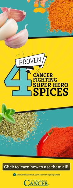 Here are four of the top cancer-fighting spices you should be incorporating into your diet on a regular basis. Click on the graphic above to discover solid information about each spice's anti-cancer properties. We also share some creative ideas and inspire you to use them more often. Some tips will also be given on how to maximize their amazing anti-cancer benefits. Enjoy and don't forget to re-pin!