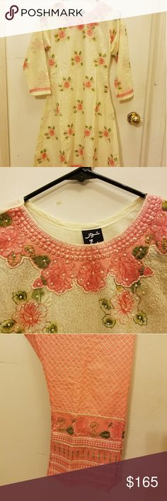 3 piece cotton pakistani  suit Beautiful cotton 3 piece suite brand new. Shirt and Pant had all embroidery. Chiffon dupatta. Very comfortable High quality cotton for casual or formal wear. Tops Tunics