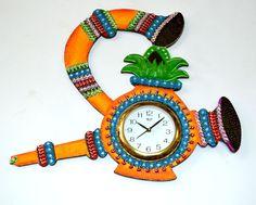 Get #handmade paper mache #wallclock online with #craftshopsindia
