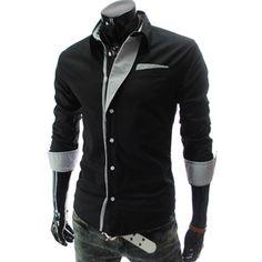 (N320-BLACK) Mens premium Stripe Patch Fitted Dress Shirts