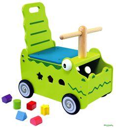 CARRELLINO CAVALCABILE in Legno MUCCA cm 35x27x44 h - Seduta cm 20 h per bambini. Primi Passi. I'm Toy.Le prime esperienze a