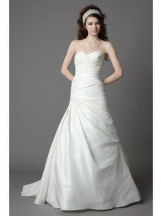 Taffeta Sweetheart Tucked Bodice A-line Wedding Dress