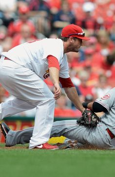 Freese gets the tag out at 3rd.  Cards shutout the Reds 10-0.   4-10-13