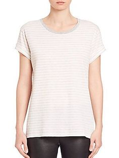 Vince Striped Rolled-Sleeve Tee - Off White - Size