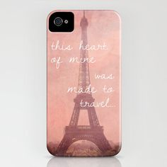 iPhone 4/4S Hard Case, Travel Quote, Eiffel Tower in Paris, France Photography on a Custom Apple iPhone Case