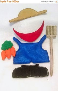 SALE Mr or Mrs potato head Farmer addon package which includes 6 pieces for our Potato head felt game set educational game