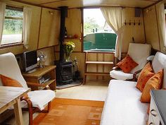 'Narrow Boat' interior inspiration! Look at the fireplace!!