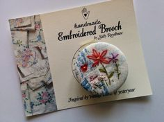 Vintage style hand embroidered flower brooch