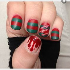 Freddy nails for Halloween. Perfect for when Freddy is your crush's favorite horror villain.
