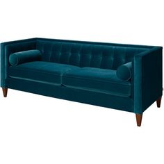 Bring regal appeal to your living room or den with this button-tufted sofa, showcasing a tuxedo design and blue upholstery.     Produ...