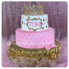 Tutu and tiara baby shower cake with matching cupcakes. Also created the tutu cake stand. #nicolescakesmi ...