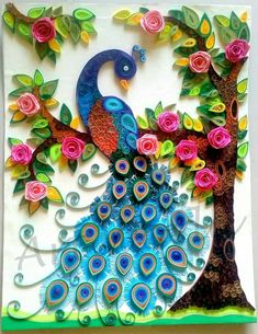 blue and orange peacock quilling piece in circle You are skilled (& patient!Stunning peacock made of quilled paper. Quilling is the art of paper rolling.My original work revankar artandhobbyPeacock on ledge Neli Quilling, Peacock Quilling, Quilling Images, Paper Quilling Cards, Paper Quilling Tutorial, Paper Quilling Patterns, Quilled Paper Art, Quilling Craft, Quilling Ideas