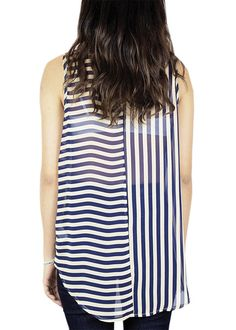 All The Right Stripes Sheer Top